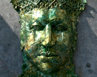 Helios - origami sculpture with gold green enamel glaze