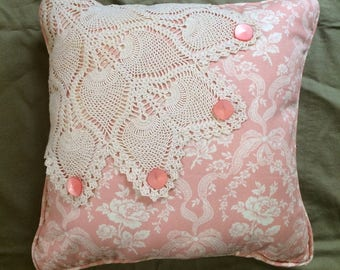 Vintage Linen Doily Pillow with rose print Waverly Linen, Vintage Buttons and Peachy Pink Linen Polka Dot Back