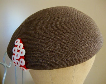 Vintage Betmar Womens Brown Beret Dome Style Hat with Ribbon/Button Accents