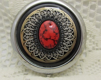 Compact Mirror Vampire Kiss Black and Red Compact Mirror Comes With Protective Pouch