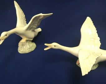 Lladro Pair Geese Preparing for Flight 1265 and 1264 Taking Flight Original Box #B200 SALE