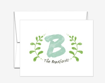 Personalized Stationery - Watercolor Initial - Folded Note Cards