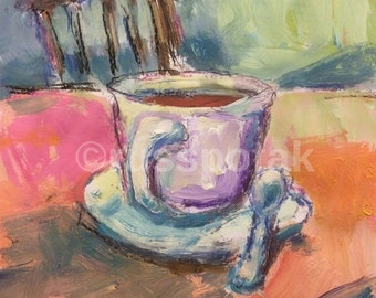 Coffee mug cup paintng,  still life painting,  impressionist art, red, pink  yellow, blue, interior scene, Russ Potak