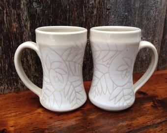 White Fern Mugs / Set of 2