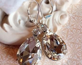Estate Style Earrings Old Hollywood Bridesmaid Gift Art Deco Crystal Earrings Rhinestone Jewelry MAYFAIR Crystal