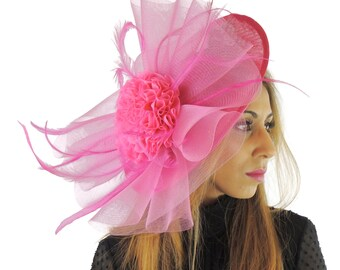 Fuchsia Pink Fascinator Hat for Weddings, Races, ** SAMPLE SALE