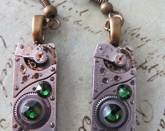 Steampunk - Emerald  - Steampunk Earrings - Repurposed art