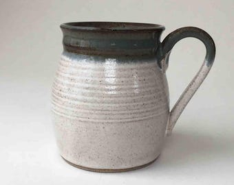SHIPS FAST Stoneware, Handmade Coffee Mug, Speckled White, Blue Gray, 2+ Cups, Gift Ideas for Him, Kitchen Coffee Mug