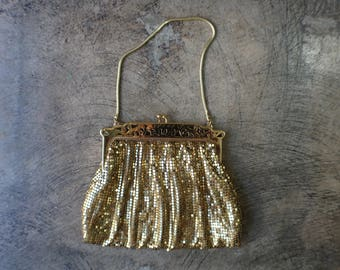 1940's Whiting & Davis Gold Mesh Purse / Vintage Evening Bag / Designer Vintage Handbag