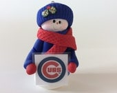RESERVED FOR BERTIE Snowman Ornament holding a Chicago Cubs sign - Polymer Clay Ornament by Helen's Clay Art