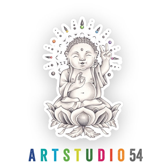 Weatherproof Vinyl Sticker - Buddha - Unique, Fun Sticker for Car, Luggage, Laptop - Artstudio54