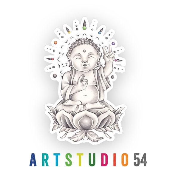 Weatherproof Vinyl Sticker - Buddha - Unique, Fun Sticker for Car, Luggage, Laptop - Artstudio54