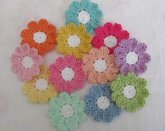 Flower Appliques for Scrapbooking or Sewing - Springtime Colors, 12 Crochet Embellishments
