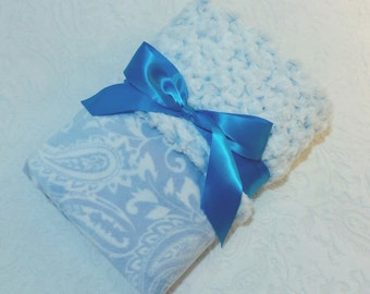 CLEARANCE SALE - NOW just 20 dollars - Ready to Ship - Minky Baby Blanket - Light Blue Paisley with Blue Frosted Minky Swirl  - Crib Size