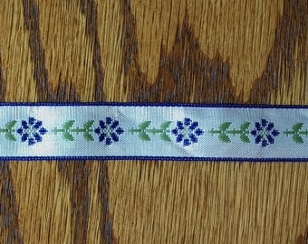 3 yards White Ribbon with Navy Floral Trim White with navy flowers