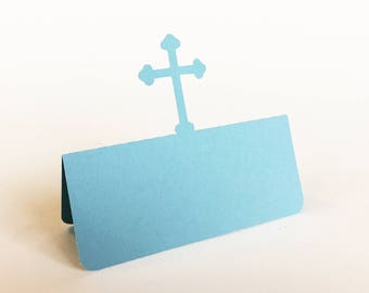Cross Place Card, Baptism lunch, Christening lunch, First communion, wedding place card, escort card, religious place card