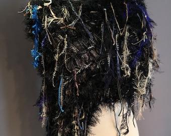Dumpster Diva 'Dark Forest' Fringed Poncho with black fur, Huntress Fringed Knit Poncho, black blue greeb, black poncho, fringe scarf
