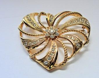 Vintage Avon Heart Pin Brooch Large Rhinestones
