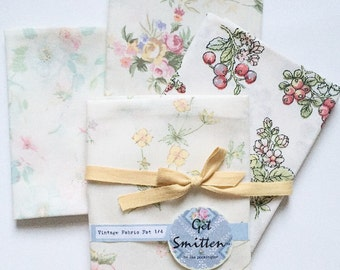 Vintage Fabric Gift Set - Mothers Day Gift - Gift Idea - Country Diary Edwardian Lady - Vintage Fabric - Fat Quarter Bundle, Vintage Sheets