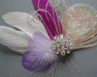 Wedding Hair Piece hairpiece Purple Lilac Ivory Feather Fascinator Bridal Hair Clip Hair Accessories brides comb bridesmaid hairpiece