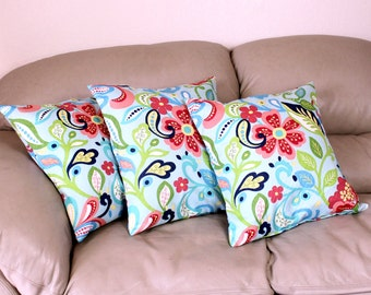 ONE Aqua Blue Floral Decorative Throw Pillow Cover, 18 inch Pillow Cover, Orange Flowers on Aqua Cotton Fabric - B2