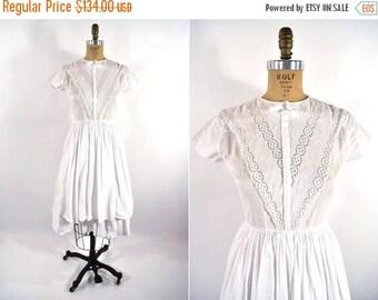 50% OFF SALE // 1950s dress vintage 50s sweet white eyelet summer sun dress S