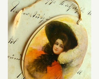 ON SALE Antique Tally Place Card Gibson Girl