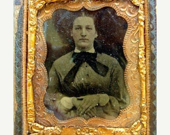 ON SALE Antique Ambrotype Tin Type Union Photo with Glass