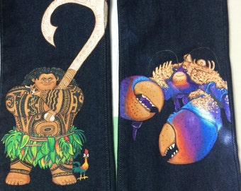 Custom clothes Hand Painted from Disney's movie Moana, 3 characters Moana,  Maui and the coconut crab in  Long jeans or shorts 12 -24 months