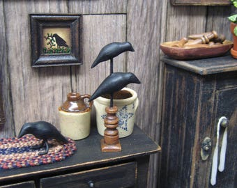 Miniature Dollhouse 2 Crows Statue Primitive Stand