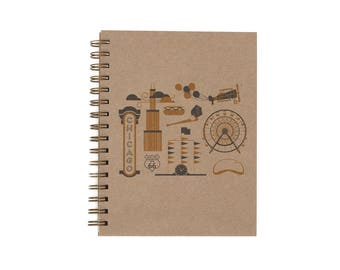 Chicago - Notebook   Lined Pages   Spiral Bound   Letterpress   Hard Cover