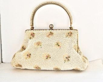 Rare Corde Bead Floral Purse - Mid Century Corde Bead Floral Pocketbook - Corde Bead Floral Handbag