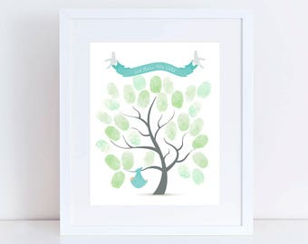 christening guest book tree printed artwork, baptim fingerprint tree with baby bundle and birds, new baby welcome nursery art customizable
