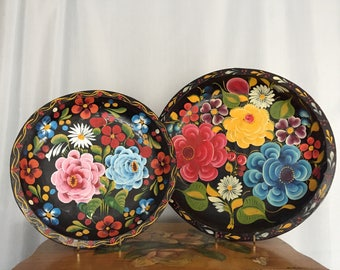 floral tray set of two vintage wood plates bowls black flowers pink blue green