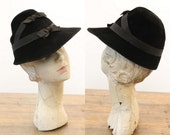40s Hat / 1940s Vintage Hat Bows / Double Indemnity Fedora