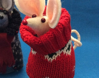 Felt Mouse in Bright Red Sweater