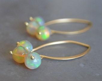 Welo Ethiopian Opal Earrings on 24k Gold Vermeil