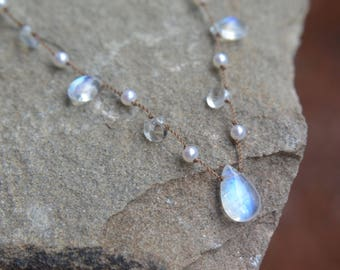 Rainbow Moonstone and Pearl Knotted Silk Necklace