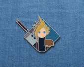 "Final Fantasy Enamel Pin - Cloud - FFVII Soft Enamel Pin - 1"" x 1.25"" - Final Fantasy - Video Games - Lapel Pin - Nerd - Geek - Cool Pins"