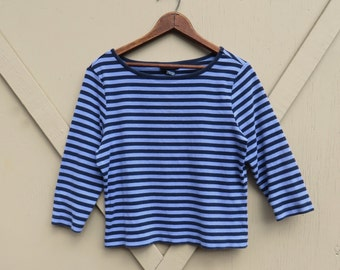 90s vintage The Limited Navy and Light Blue Striped Crop Top / Parisian Striped Top / Sailor Top