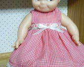 13-17 inch Babydoll Red Gingham Dress