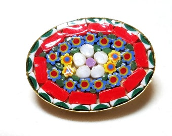 Micro mosaic Vintage micromosaic Oval Pin Red Green Blue Yellow White