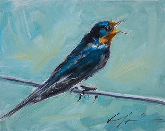 Painterly Purple Martin, Barn Swallow, Blue, Black, Rust, Sitting on a Wire Aqua Background - Original Painting by Clair Hartmann