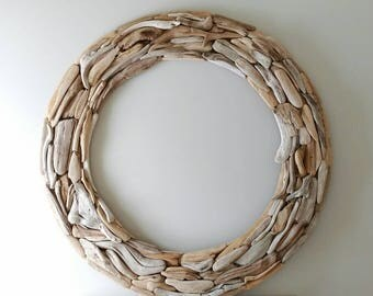 Oversize Driftwood Wreath, Extra Large Round Wall Hanging, 4 Feet Diameter, Contemporary, Coastal, Beach House, Nautical Decor