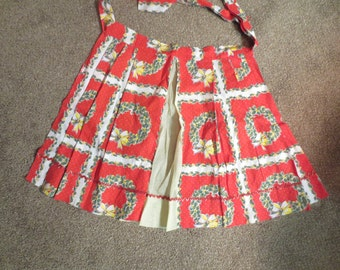 Vintage Christmas Red and Yellow Cotton Half Apron Zig Zag Adorable Holiday Apron Wonderful Mid Century Style!