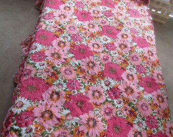 "Floral Quilted  Cotton Bedspread Twin Size / Pink orange floral design / 80 x 38"" with 21"" drop sides Shabby / Paris / Cottage"