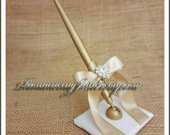 Romantic Satin Wedding Guestbook Pen with Rhinestone Accent...You Choose Colors.... shown in gold pen/ivory base/champagne bow
