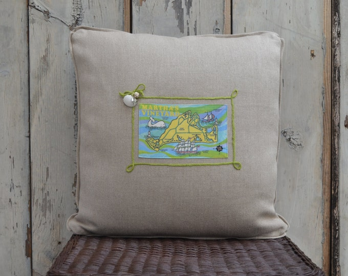 Martha's Vineyard Island Postcard Pillow  (available in 4 styles)