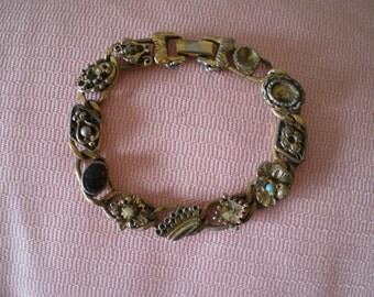 Vintage Goldette Charm Bracelet Missing Stones