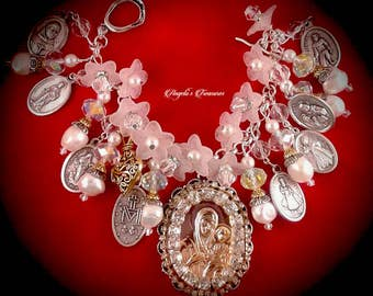 Vintage and New Catholic Virgin Mary Religious Medals Charm Bracelet